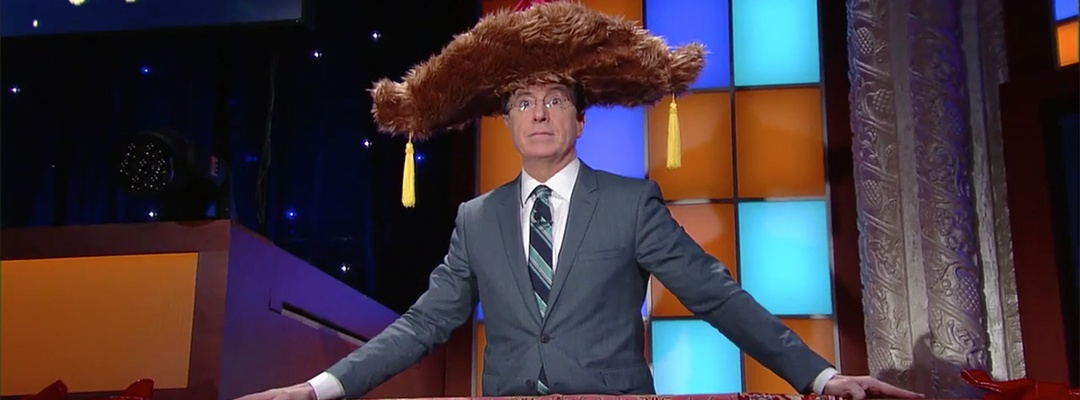 furry hat stephen colbert late show