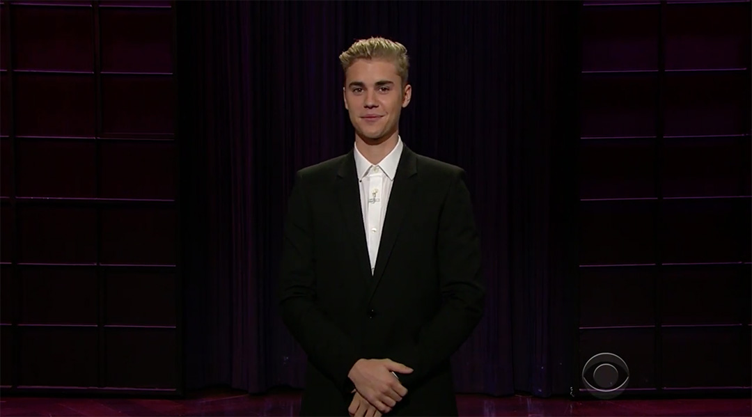bieber late late show corden