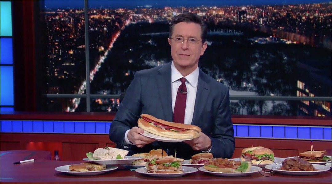 new hampshire stephen colbert sandwiches late show