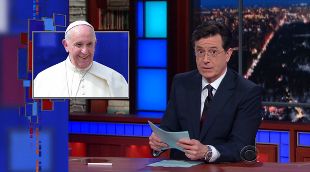 late show pope francis stephen colbert donald trump