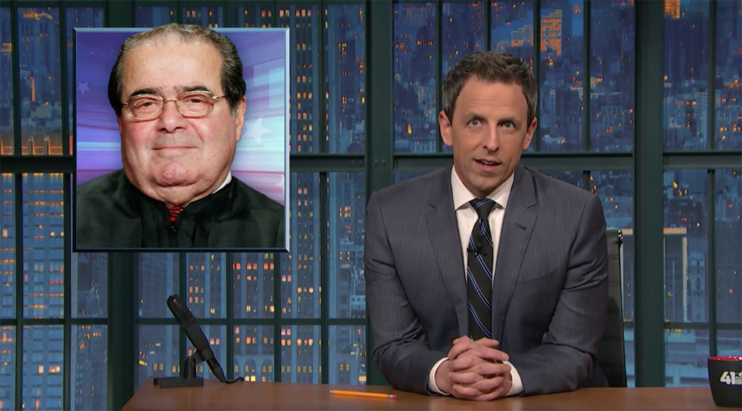 antonin scalia seth meyers late night