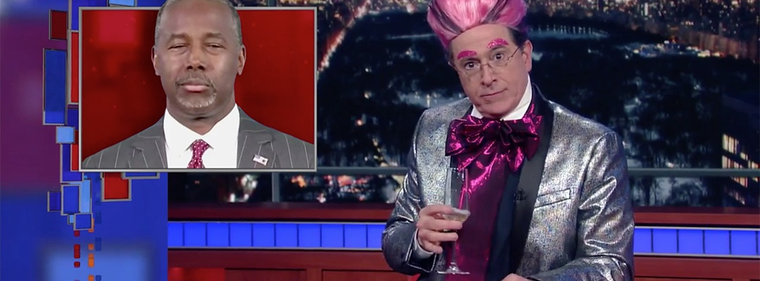 ben carson late show stephen colbert hungry for power games
