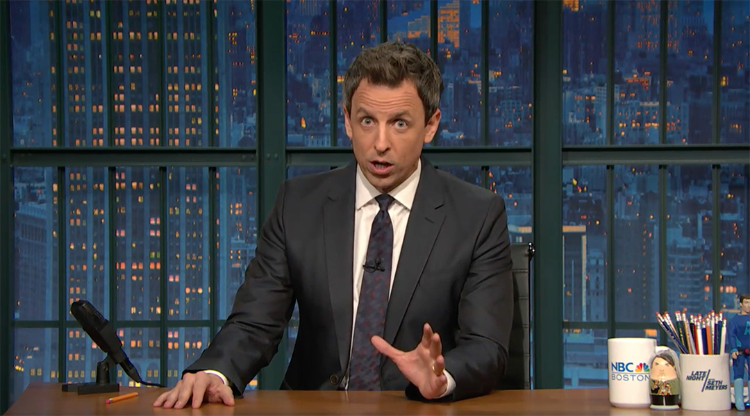 seth meyers late night golden showers trump