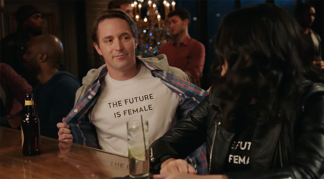 snl feminism girl at a bar