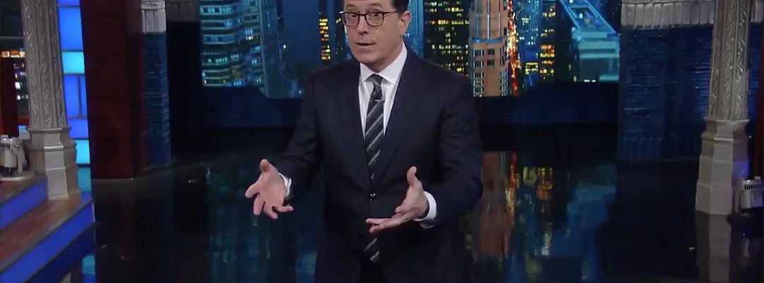 colbert donald trump russia clinton fake news