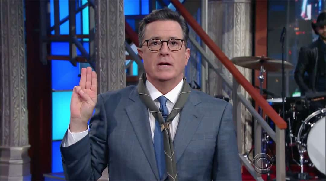 stephen colbert boy scout of america donald trump