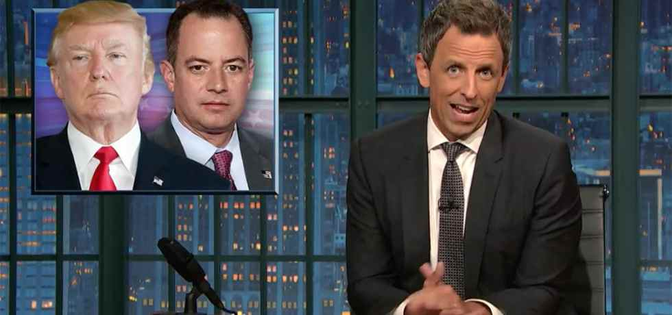 seth meyers late night scaramucci priebus